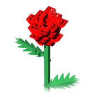LEGO rose with two leaves