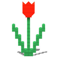 simple LEGO tulip with two leaves
